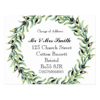 Change of address watercolour wreath postcard