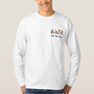 Chanukah Letters Embroidered Long Sleeve T-Shirt