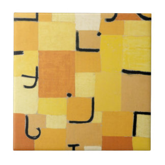 Characters in yellow - Paul Klee Tile