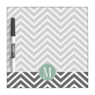 Charcoal and Mint Green Chevrons Custom Monogram Dry Erase Board