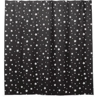 Charcoal and White Stars Celestial Sky Shower Curtain