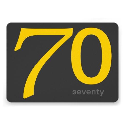 Charcoal and Yellow Custom 70th Birthday Invite