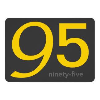 "Charcoal and Yellow Custom 95th Birthday Invite 5"" X 7"" Invitation Card"