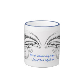 """Charcoal Dolphins Mug""""It's a Matter of Life"""" Powde"""