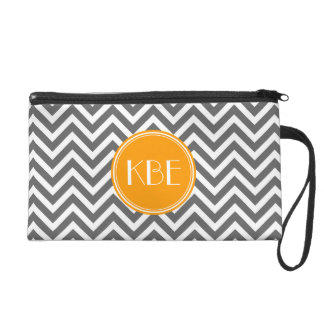 Charcoal Gray Chevron with Custom Monogram Wristlet