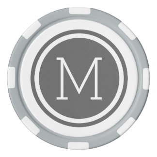 Charcoal Gray Monogram Personalized Poker Chips