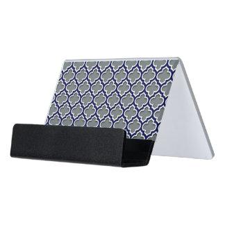 Charcoal Gray Navy White Moroccan Quatrefoil #5DS Desk Business Card Holder