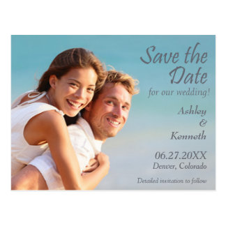 Charcoal Gray Typography Save the Date Wedding Postcard