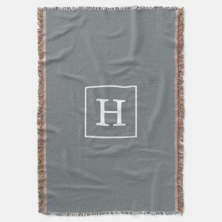 Charcoal Gray White Framed Initial Monogram Throw Blanket