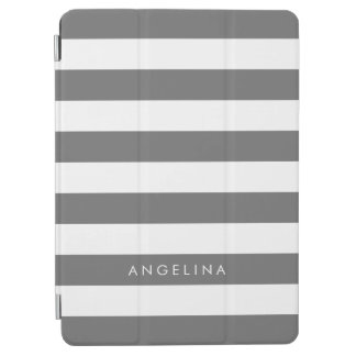 Charcoal Gray White Striped Pattern Custom Name iPad Pro Cover