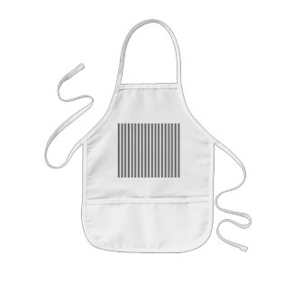Charcoal Grey and White Cabana Stripes Kids Apron