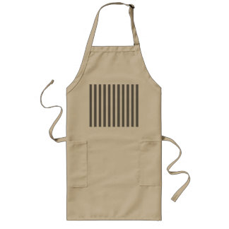 Charcoal Grey and White Cabana Stripes Long Apron