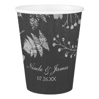 Charcoal Grey & Faux Silver Floral Wedding Cups