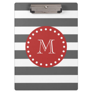 Charcoal Grey White Stripes Pattern, Red Monogram Clipboard