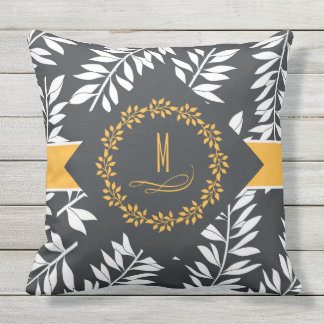 Charcoal Grey with Golden Accents and Monogram Outdoor Cushion