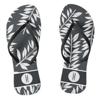 Charcoal Grey with White Cabana with Monogram Thongs
