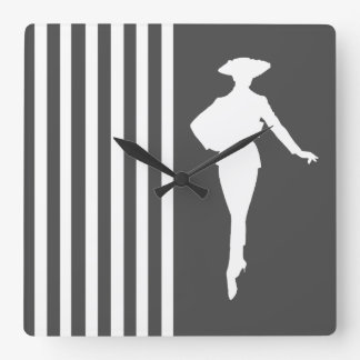 Charcoal Modern Stripes with Fashion Silhouette Square Wall Clock