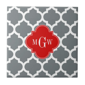 Charcoal, White Moroccan #5 Red 3 Initial Monogram Small Square Tile