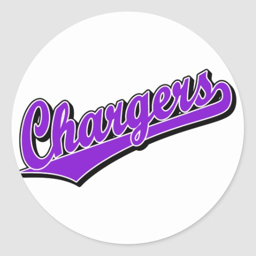 Chargers in Purple Round Sticker
