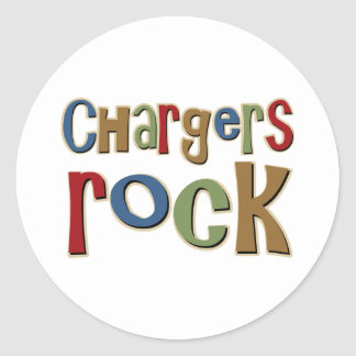 Chargers Rock Round Sticker