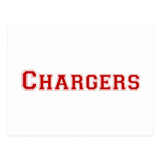 Chargers square logo in red postcards