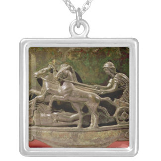 Charioteer in his chariot, detail from a cist silver plated necklace