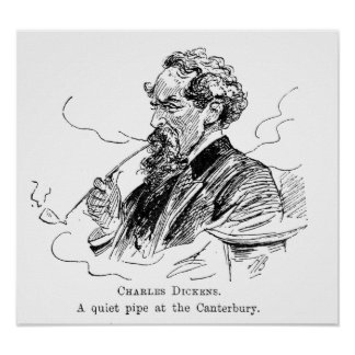 Charles Dickens. A quiet pipe at the Cantebury. Poster