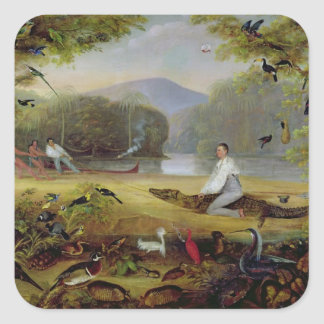 Charles Waterton capturing a cayman, 1825-26 Square Sticker