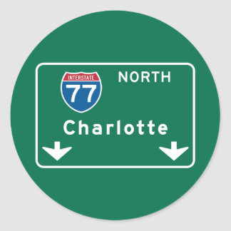 Charlotte, NC Road Sign Classic Round Sticker