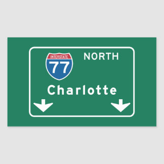 Charlotte, NC Road Sign Rectangular Sticker