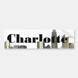 Charlotte NC Skyline with Charlotte in the Sky Bumper Sticker