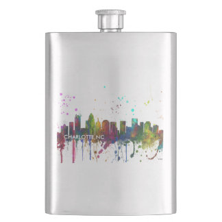 CHARLOTTE, NORTH CAROLINA SKYLINE HIP FLASK
