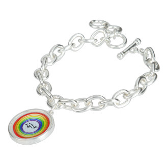 Charm Bracelet - Rainbow Rings and Initals