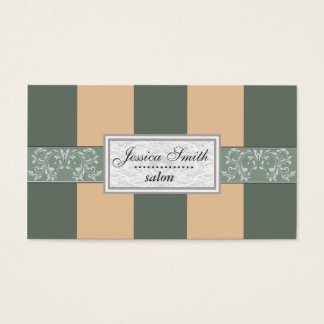 Charming adorable vintage damask stripes salon business card