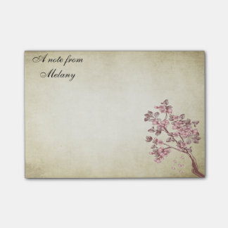 Charming chic cherry branch vintage personalised post-it® notes