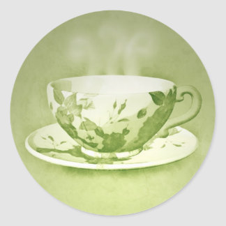 Charming Green Teacup Stickers