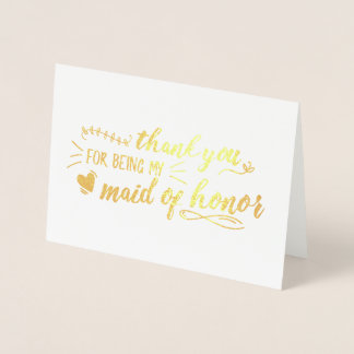 Charming Maid of Honour Thank You Foil Card