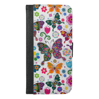 Charming Retro Butterflies And Flowers Pattern iPhone 6/6s Plus Wallet Case
