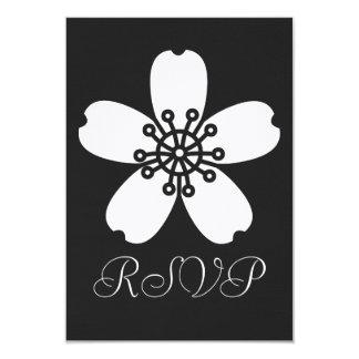 """Charming Sakura in Black RSVP Card 3.5"""" X 5"""" Invitation Card"""