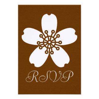 Charming Sakura in Chocolate RSVP Card