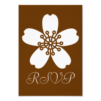 "Charming Sakura in Chocolate RSVP Card 3.5"" X 5"" Invitation Card"