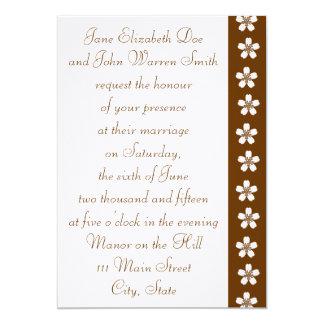 "Charming Sakura in Chocolate Wedding Invitation 5"" X 7"" Invitation Card"
