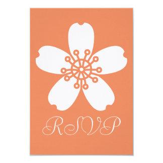 Charming Sakura in Coral RSVP Card
