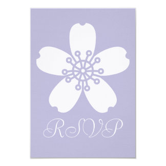 """Charming Sakura in Lavender RSVP Card 3.5"""" X 5"""" Invitation Card"""