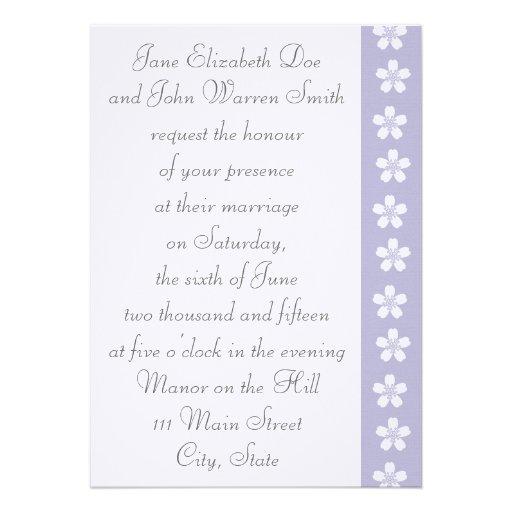 Charming Sakura in Lavender Wedding Invitation