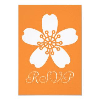 """Charming Sakura in Orange RSVP Card 3.5"""" X 5"""" Invitation Card"""