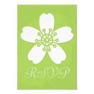 "Charming Sakura in Peridot RSVP Card 3.5"" X 5"" Invitation Card"