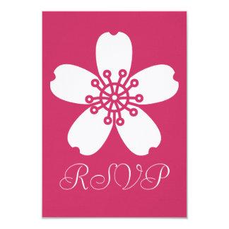 "Charming Sakura in Raspberry RSVP Card 3.5"" X 5"" Invitation Card"