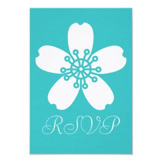 "Charming Sakura in Turquoise RSVP Card 3.5"" X 5"" Invitation Card"