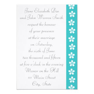 "Charming Sakura in Turquoise Wedding Invitation 5"" X 7"" Invitation Card"
